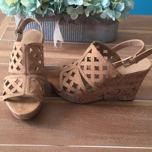 Brand new Franco Sarto nude detailed wedges, 8.5